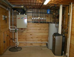 room contains sump w radon vent pipe air to air heat exchanger